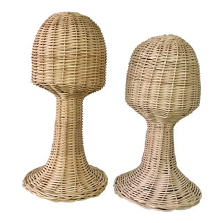 1970s Boho Chic Wicker Mannequin Heads - a Pair For Sale