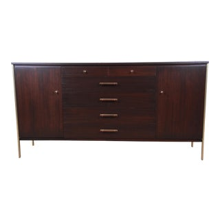Paul McCobb for Calvin Mahogany and Brass Sideboard Credenza For Sale