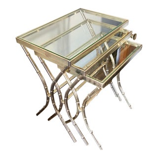 Vintage Faux Bamboo Brass Nesting Tables - Set of 3 For Sale