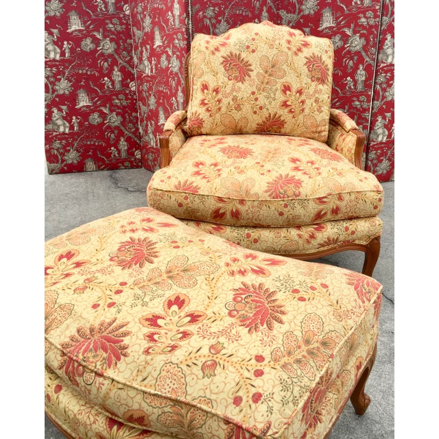 French French Style Traditional Chair and Ottoman For Sale - Image 3 of 6