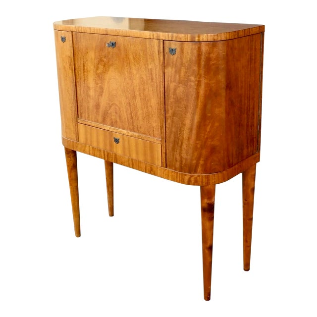 1940s Art Moderne Secretary Desk and Dry Bar in Honduran Mahogany For Sale