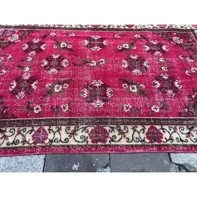 Textile 1960s Vintage Turkish Oushak Hand-Knotted Rug - 5′2″ × 8′2″ For Sale - Image 7 of 11