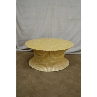 McGuire Style Mid Century Modern Round Wheat Sheaf Rattan Coffee Table Preview