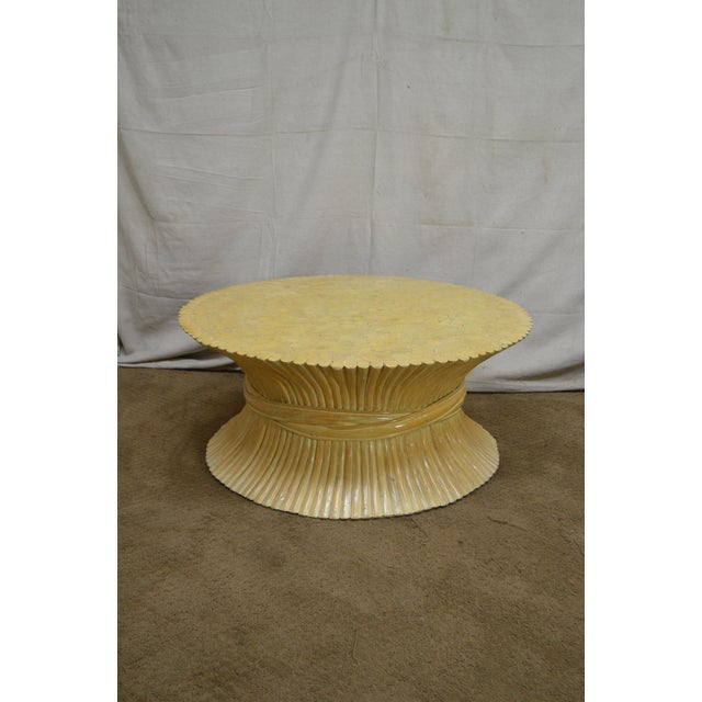 McGuire Style Mid Century Modern Round Wheat Sheaf Rattan Coffee Table - Image 2 of 13