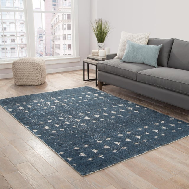 2010s Jaipur Living Abelle Hand-Knotted Medallion Teal/ White Area Rug - 8′ × 11′ For Sale - Image 5 of 6
