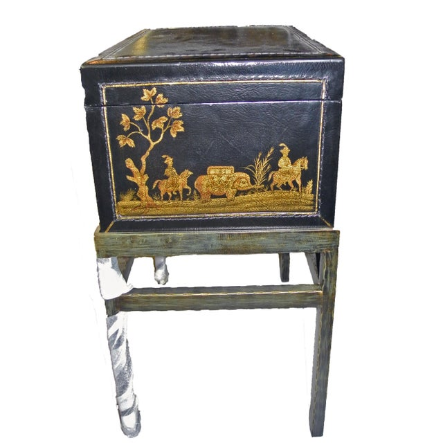 Asian 1990s Chinoiserie Chairside Box Side Table For Sale - Image 3 of 9