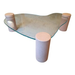 Glass Coffee Table with Faux Finish Legs