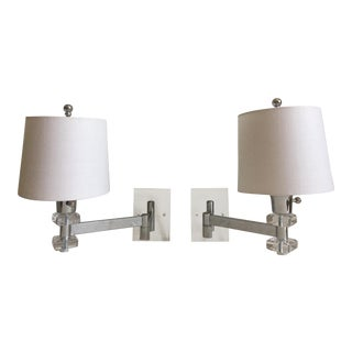 Lucite Swing-Arm Sconces & Shades - a Pair For Sale