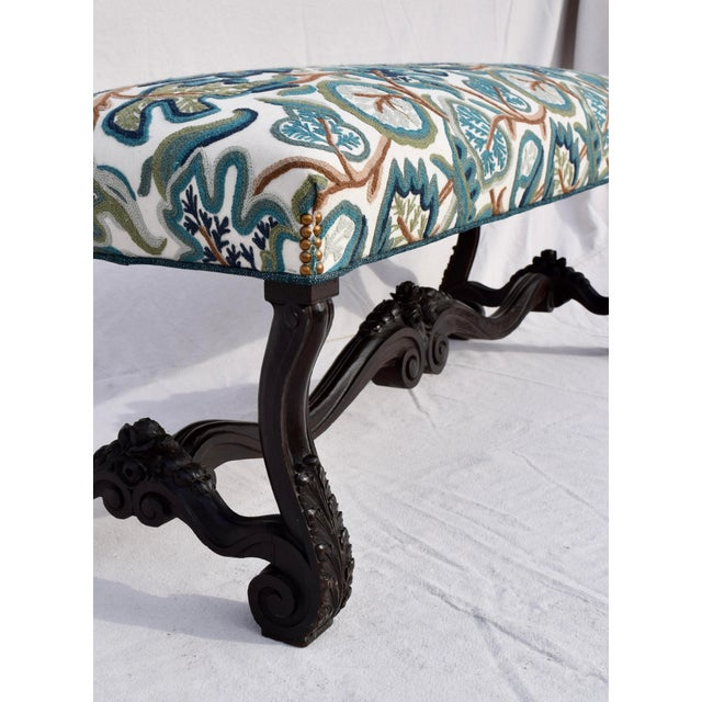 Mid 19th Century Antique American Empire Upholstered Scroll Form Bench For Sale - Image 9 of 12