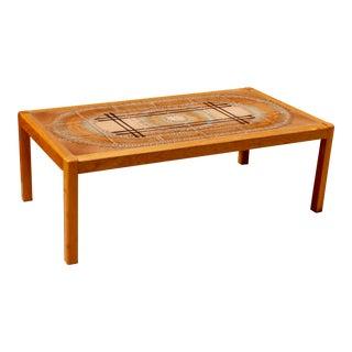1970s Mid Century Danish Modern Teak Coffee Table With Tile Top