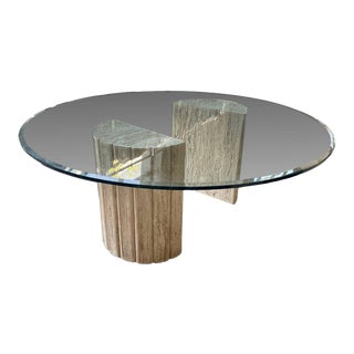 1980s Round Travertine Column Dining Table For Sale