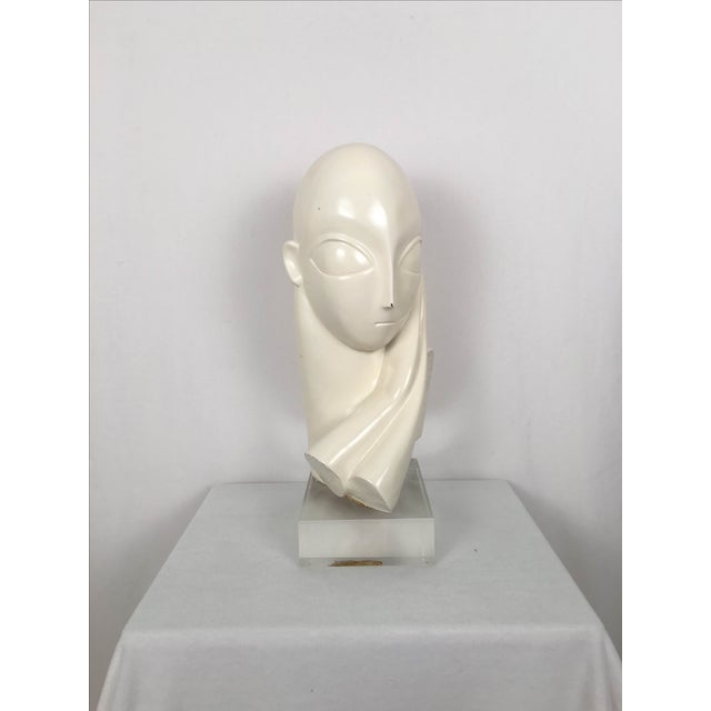 Vintage Mid-Century Alien Bust Sculpture on Lucite - Image 3 of 9