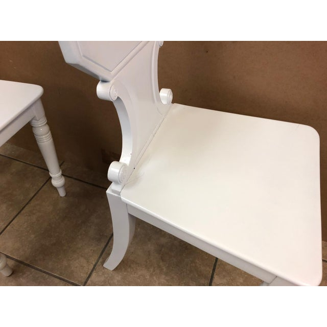 White Pair of 19th Century English White Lacquered Hall Chairs For Sale - Image 8 of 9