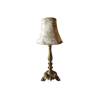 Gustavian Style Solid Brass Lamp With Cream Floral Shade For Sale