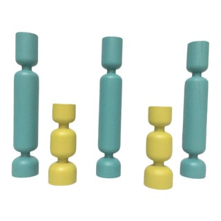 Danish Modern Teal & Yellow Turned Wood Candleholders - Set of 5 For Sale