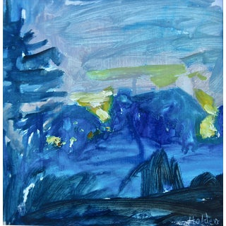 """Contemporary """"Night Sky Near Paris, France"""" Original Oil Painting by Martha Holden For Sale"""