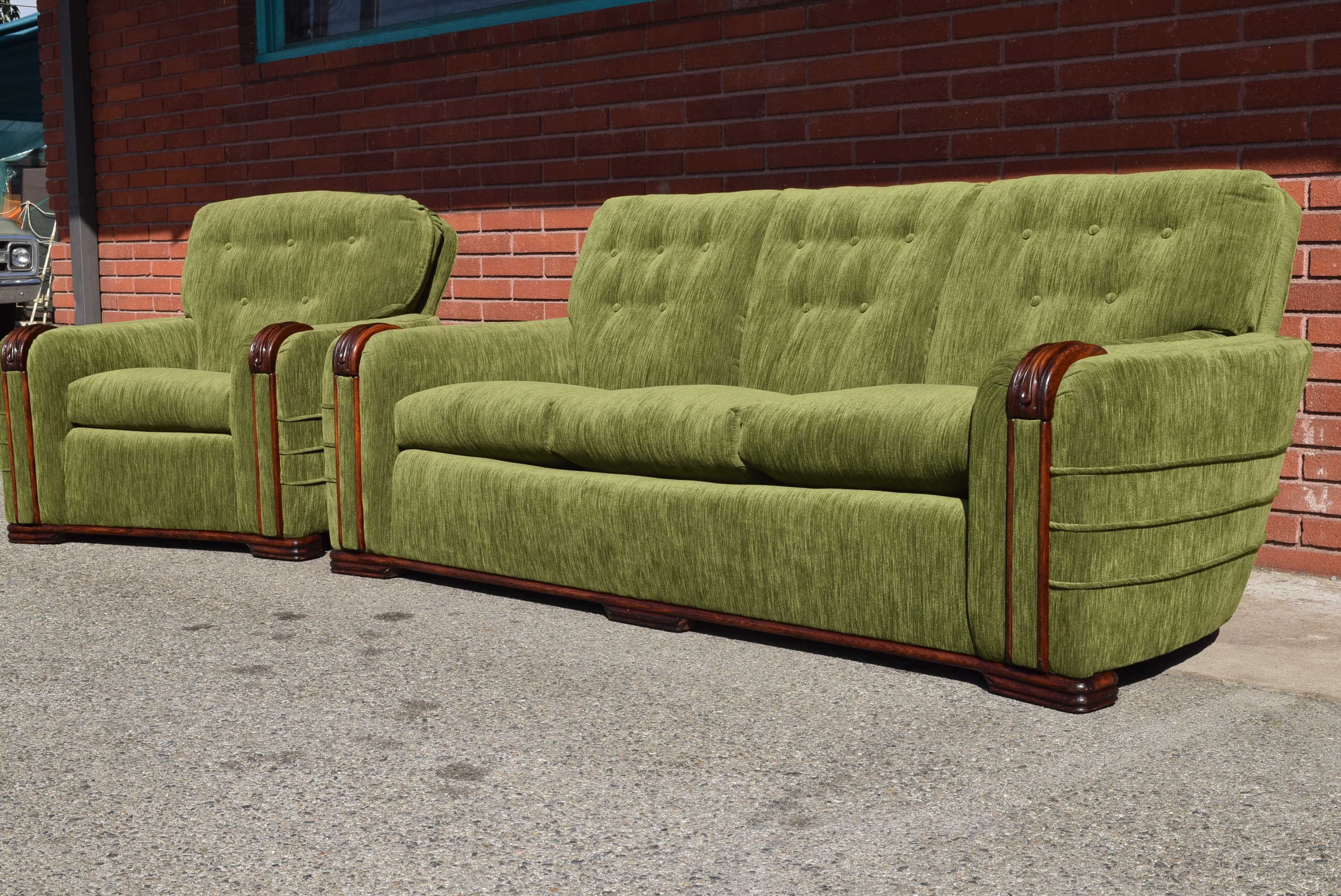 Vintage Art Deco Modern Green Velvet Sofa U0026 Chair   A Pair   Image 4 Of
