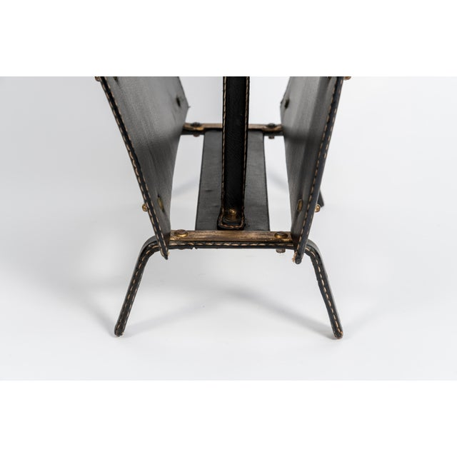 Stitched Leather Magazine Rack by Jacques Adnet For Sale In New York - Image 6 of 8
