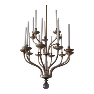 Large French Mid-Century Modern Silver & Brass Chandelier by Maison Baguès