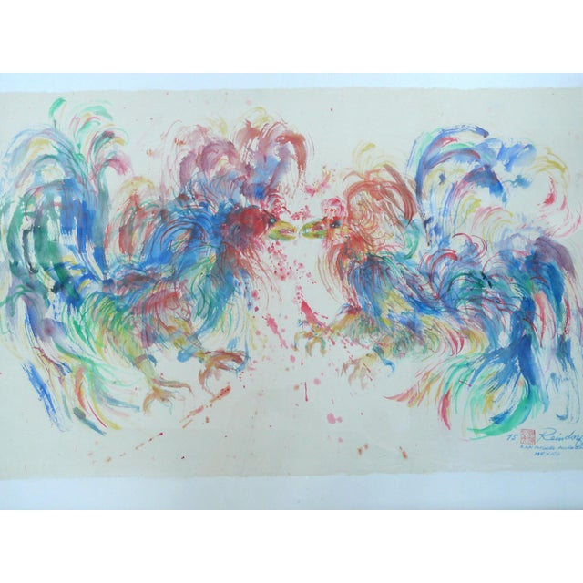 """Samuel Reindorf Watercolor """"Round One (Cockfight)"""" - Image 2 of 4"""