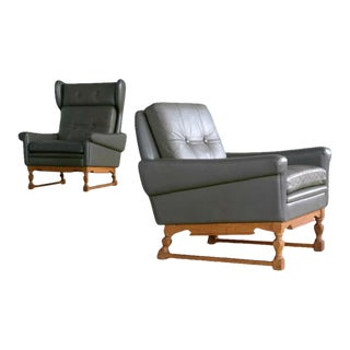Svend Skipper High and Low Back Lounge Chairs in Green Leather - a Pair For Sale