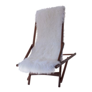 Mongolian Sheepskin Foldable Chair by Tasha Tarno For Sale