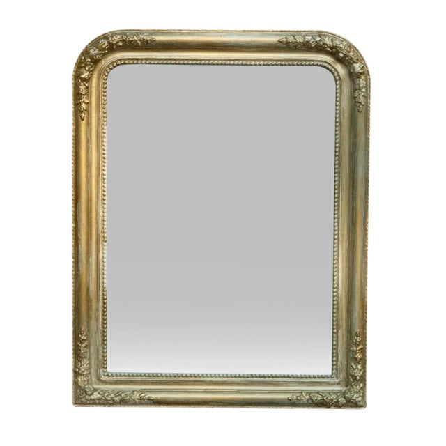 French Style Gold & Green Wall Mirror - Image 1 of 3