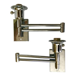 Chrome Swing Arm Sconces - A Pair