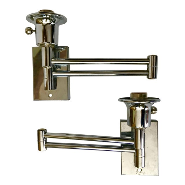 Chrome Swing Arm Sconces - A Pair - Image 1 of 4