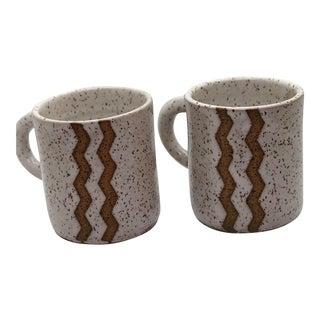 White Speckled Handmade Ceramic Mugs With Zig Zag Design - A Pair