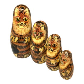 1980s Russian Stacking Cats - Set of 4 For Sale