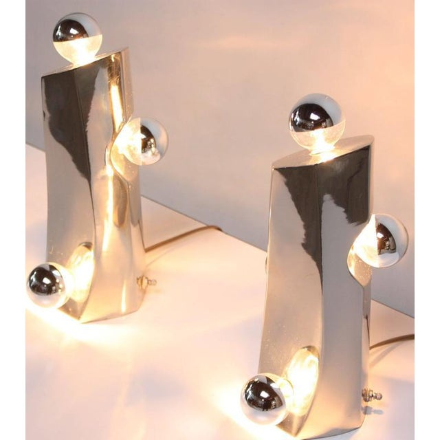 Mid-Century Modern Polished Chrome Free-Form Table Lamps - Image 5 of 11