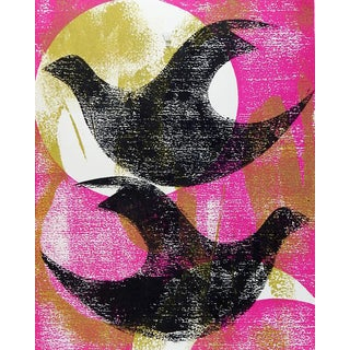 Black & Pink Abstract Birds Block Print For Sale