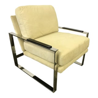 Milo Baughman Style Cream Suede and Chrome Cantilever Chair For Sale