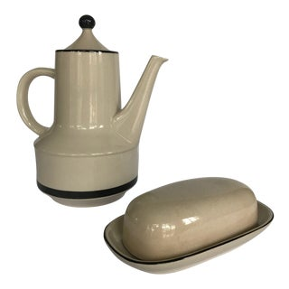 Vintage 1950s Hand Painted Stoneware Butter Dish and Tea Pot Set For Sale
