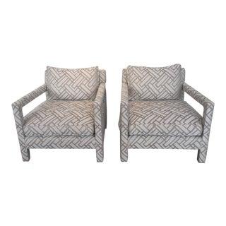 1980s Vintage Milo Baughman Parsons Style Armchairs- A Pair For Sale