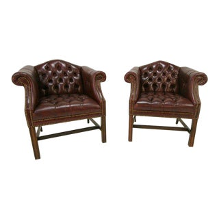 English Tufted Oxblood Leather Chesterfield Rolled Arm Club Chairs - A Pair
