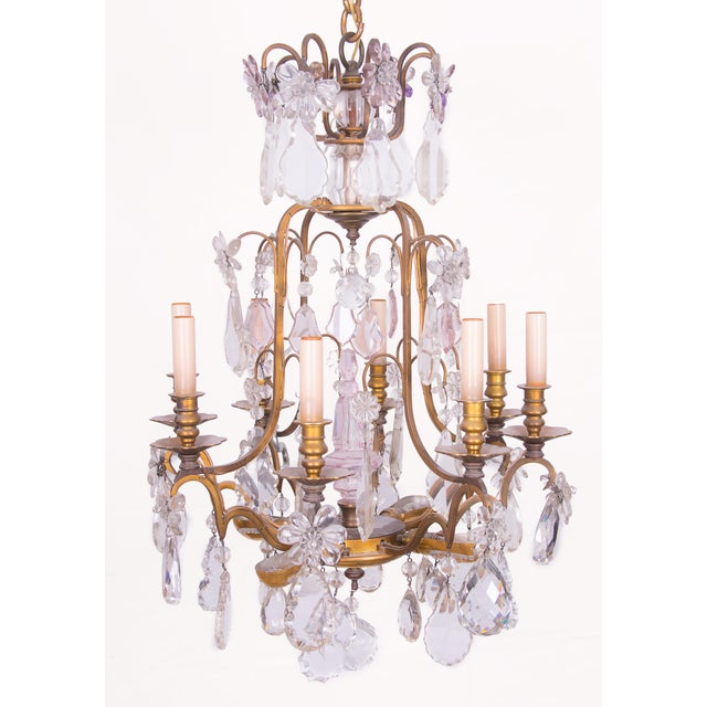 French Gilt Bronze and Crystal Chandelier For Sale In West Palm - Image 6 of 6
