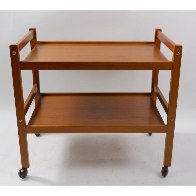 Very Nice And Exceptionally Clean Danish Modern Serving Cart, By Brdr Furbo Denmark. Solid Teak, Architectural Design,...
