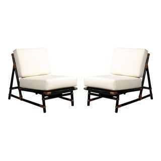 Rare Pair of Rattan Slipper Loungers by John Wisner for Ficks Reed