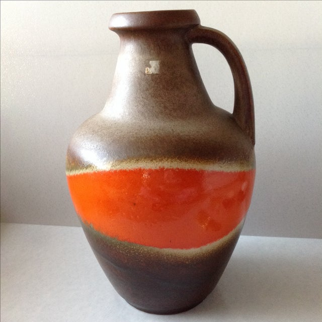 Orange and Brown Fat Lava Floor Vase For Sale - Image 5 of 11