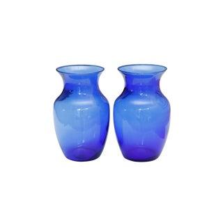 Cobalt Blue Glass Vases, a Pair For Sale
