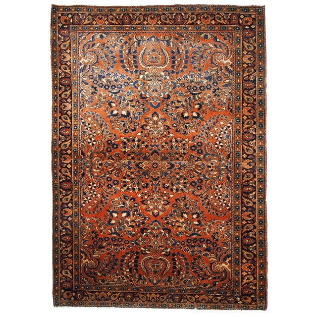 1920s, Handmade Antique Persian Sarouk Rug For Sale