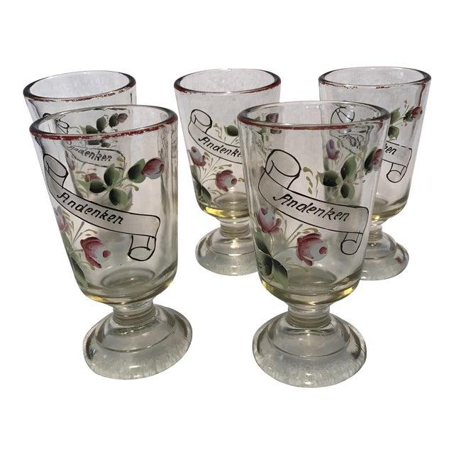 """German """"Andenken"""" Pedestal Glasses - Set of 5 For Sale"""