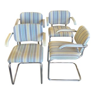 """Knoll """"Cesca"""" Chrome Dining Chairs - Set of 4 For Sale"""