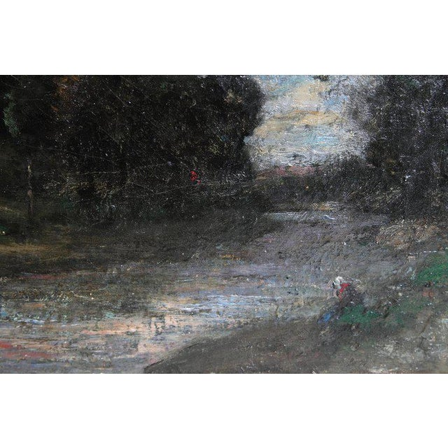 19th Century English Oil Canvas Atmospheric Landscape For Sale - Image 9 of 13