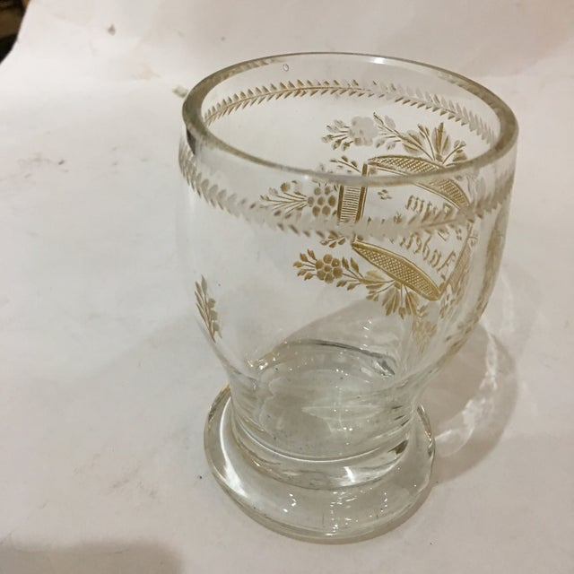 Glass Etched Gold Script Cup For Sale - Image 7 of 9