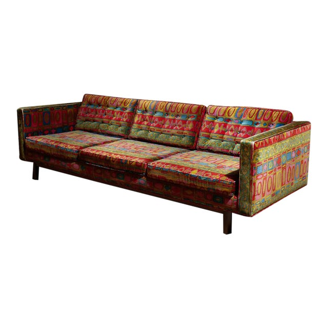 Edward Wormley Dunbar sofa with original Jack Lenor Larsen upholstery For Sale