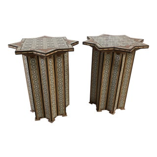 1960s Moroccan Inlay Teak Side Tables - a Pair