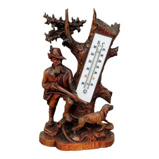 1910 Hunter and Staghound Carved Wood Thermometer Stand For Sale